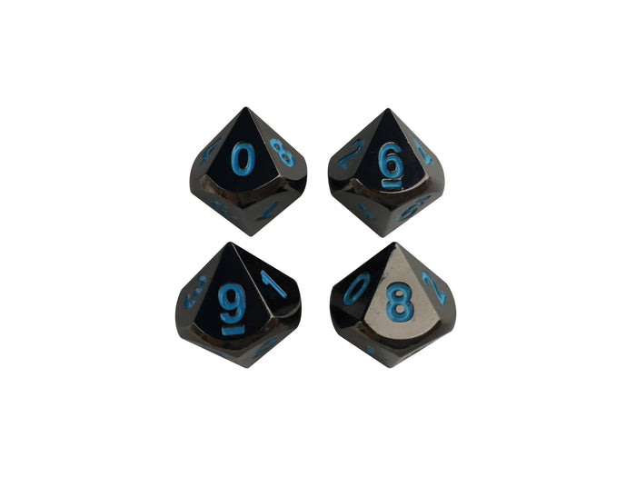 Metal Dice - 4 Pack Of D10 - Icy Doom | Shiny Black Nickel Finish With Blue Numbering Metal Dice