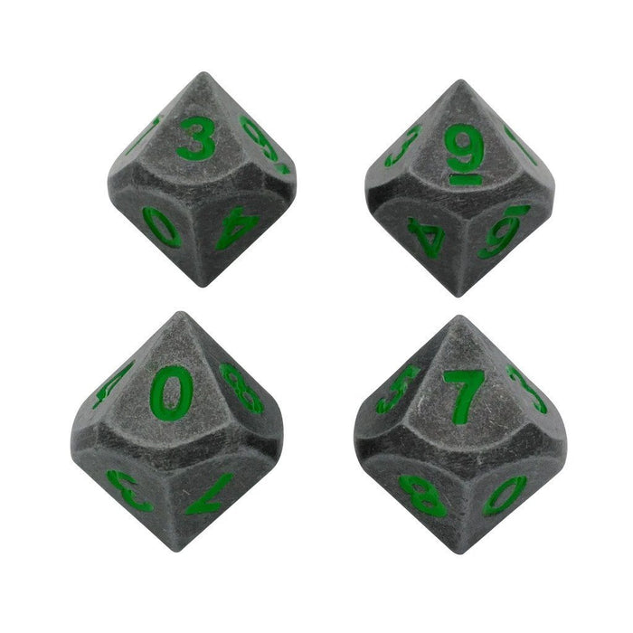 Metal Dice - 4 Pack Of D10 - Rackne's Curse | Industrial Gray With Green Numbers Metal Dice