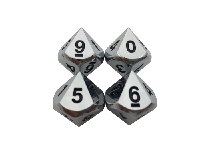 Metal Dice - 4 Pack Of D10 - Shiny Chrome / Silver Color With Black Numbering Metal Dice Set
