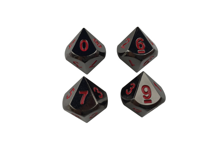 Metal Dice - 4 Pack Of D10 - Smoke And Fire | Shiny Black Nickel With Red Numbers  Metal Dice