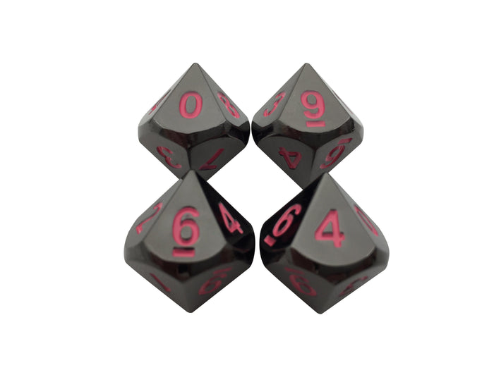 Metal Dice - 4 Pack Of D10 - Umbral Fae | Shiny Black Nickel Finish With Pink Numbering Metal Dice Set
