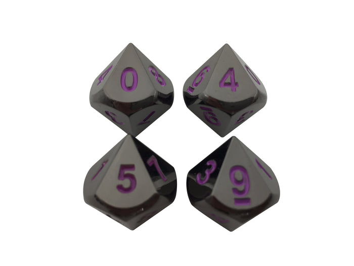 Metal Dice - 4 Pack Of D10 - Whispers Of The Void | Shiny Black Nickel With Purple Numbers Metal Dice Set