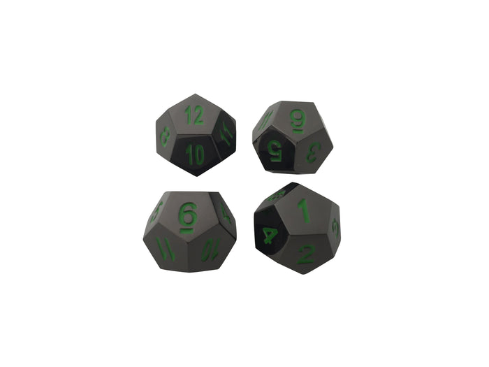 Metal Dice - 4 Pack Of D12 - Black Dragon | Shiny Black Nickel With Green Numbering Metal Dice