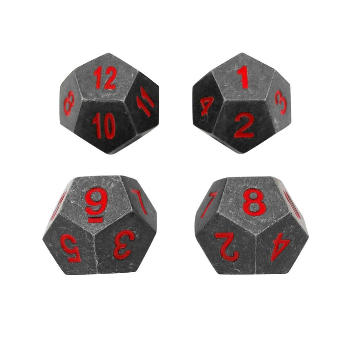 Metal Dice - 4 Pack Of D12 -  Butcher's Bill | Industrial Gray With Red Numbers Metal Dice