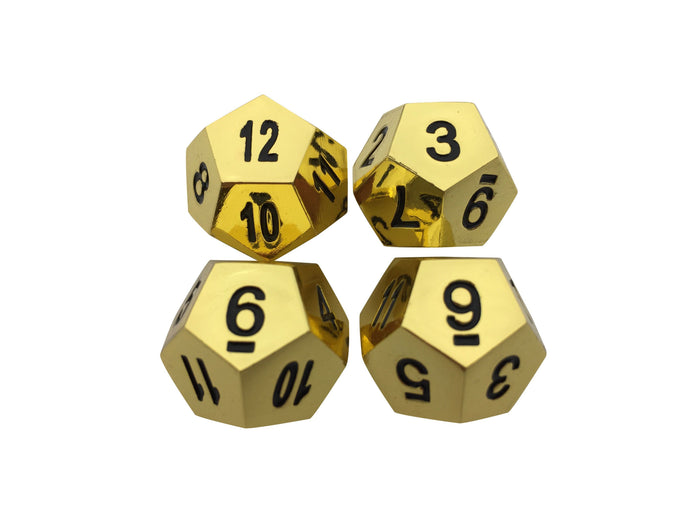 Metal Dice - 4 Pack Of D12 - Gold Color With Black Numbers Metal Dice