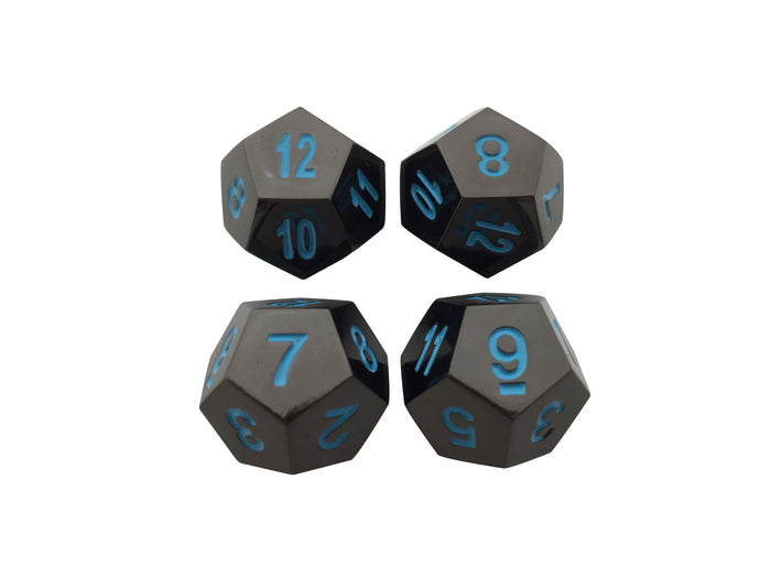 Metal Dice - 4 Pack Of D12 - Icy Doom | Shiny Black Nickel Finish With Blue Numbering Metal Dice