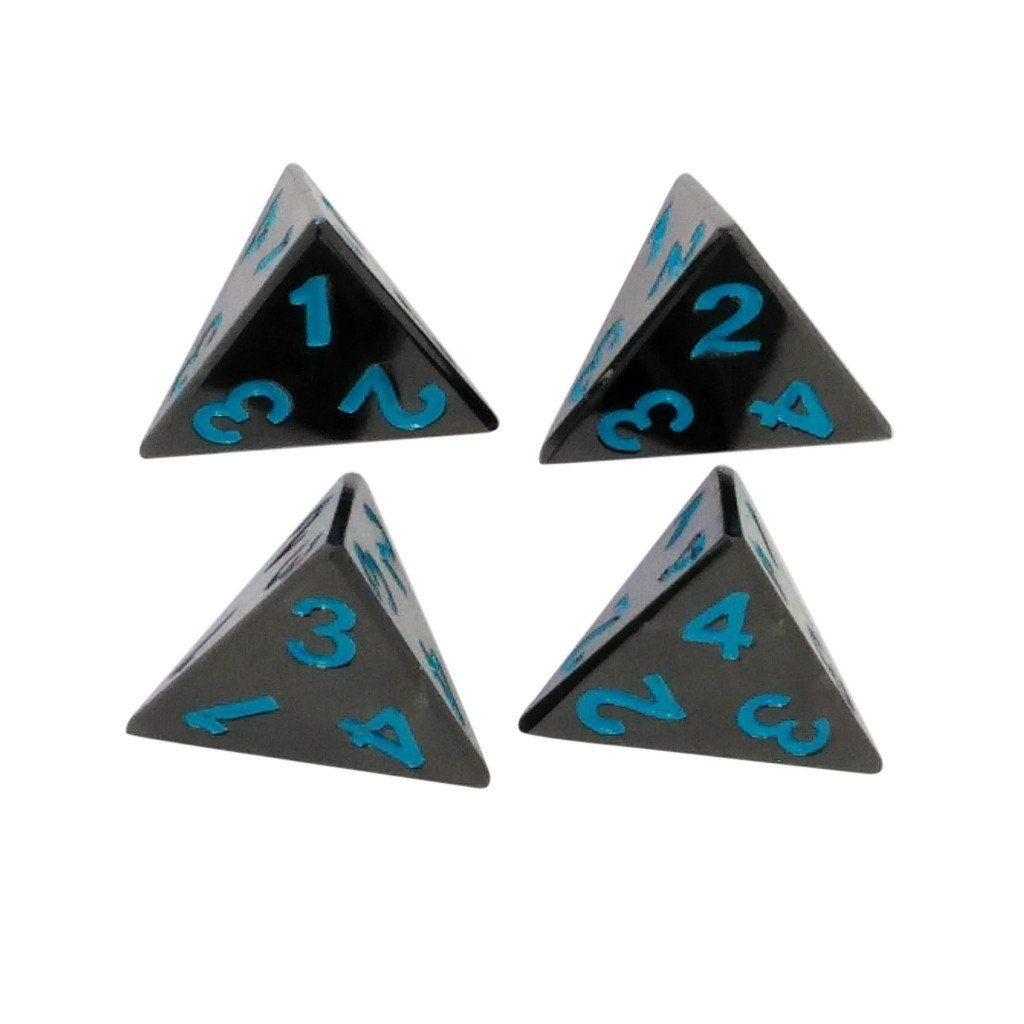 4 Pack of D4 - Icy Doom | Shiny Black Nickel Finish with Blue Numbering Metal Dice