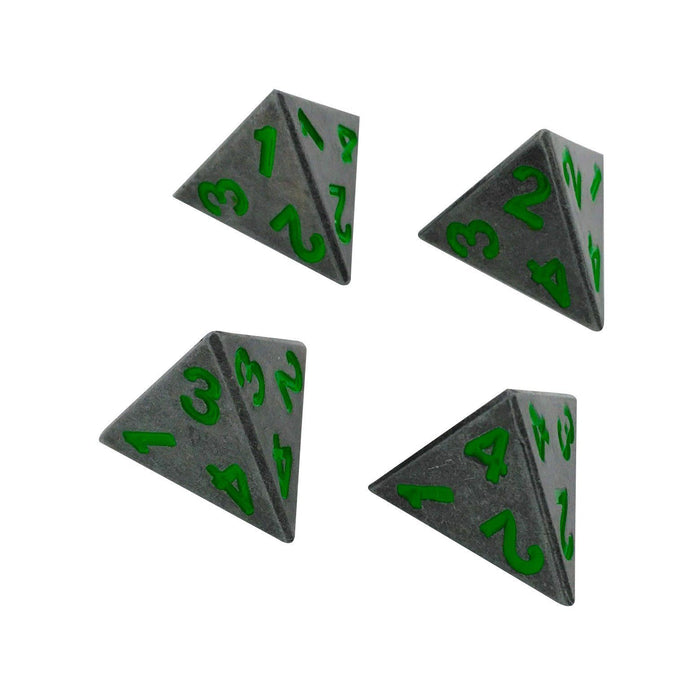 Metal Dice - 4 Pack Of D4 - Rackne's Curse | Industrial Gray With Green Numbers Metal Dice