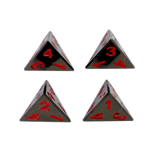 4 Pack of D4 - Smoke and Fire | Shiny Black Nickel with Red Numbers Metal Dice