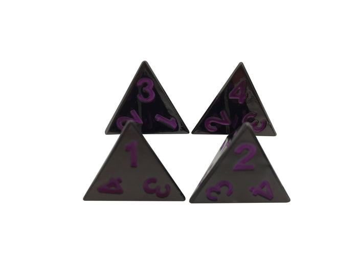 Metal Dice - 4 Pack Of D4 - Whispers Of The Void | Shiny Black Nickel With Purple Numbers Metal Dice Set