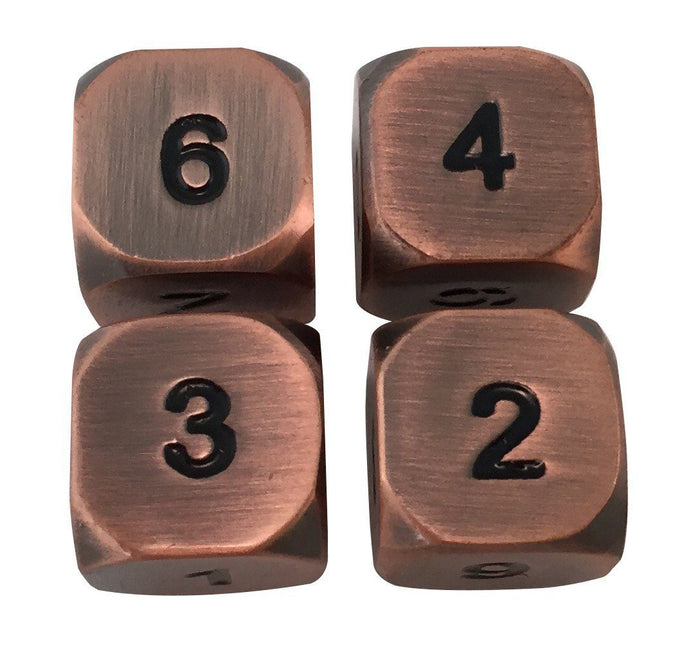 Metal Dice - 4 Pack Of D6 - Antique Brass With Black Numbers Metal Dice