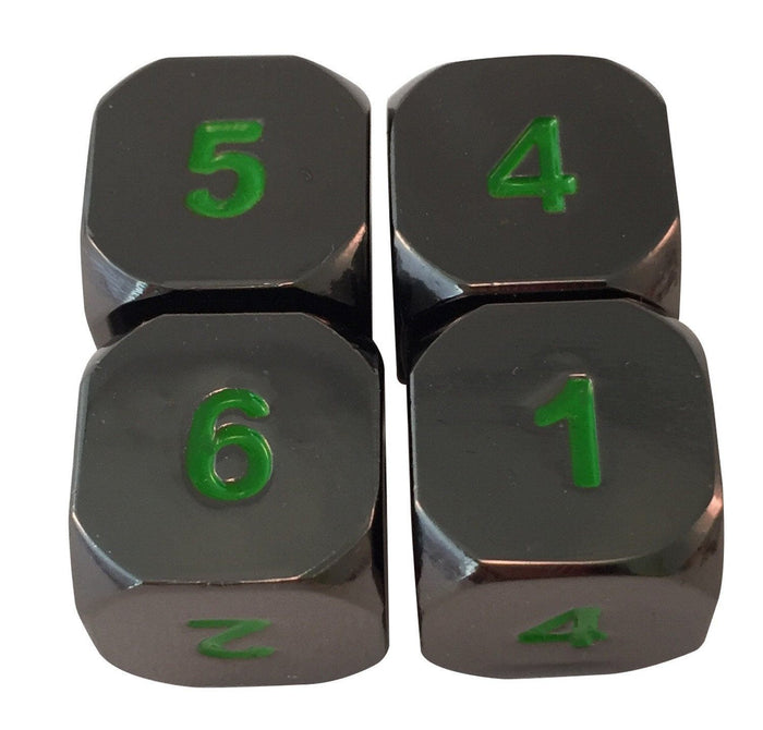 Metal Dice - 4 Pack Of D6 - Black Dragon | Shiny Black Nickel With Green Numbering Metal Dice