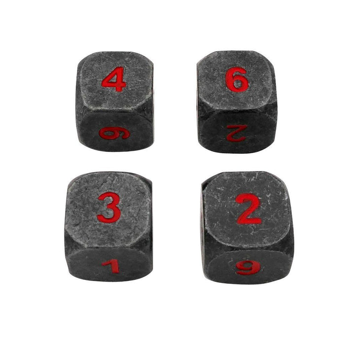 Metal Dice - 4 Pack Of D6 - Butcher's Bill | Industrial Gray With Red Numbers Metal Dice