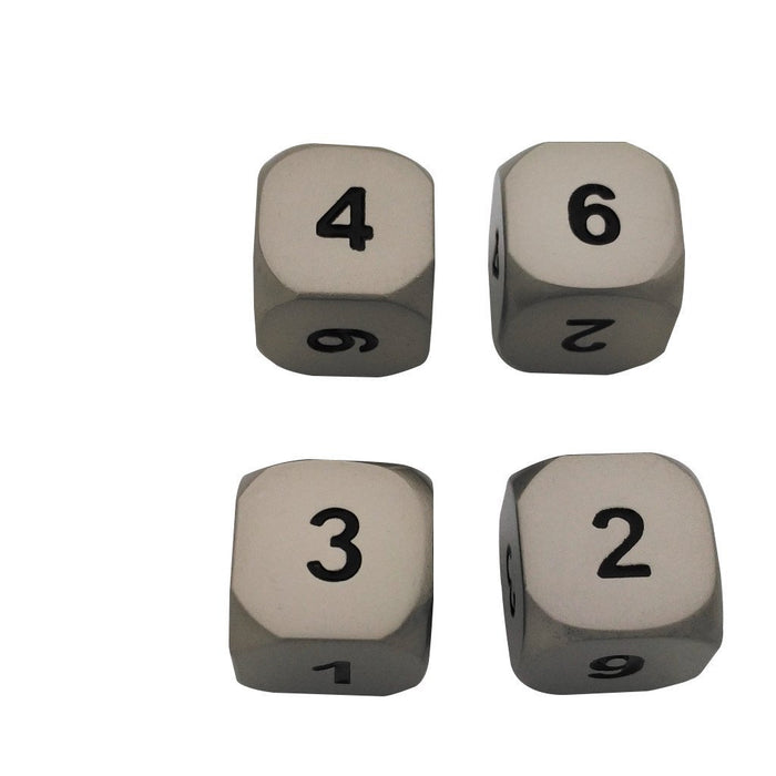 Metal Dice - 4 Pack Of D6 -  Executioner's Step (Dull Silver Color With Black Numbers) Metal Dice