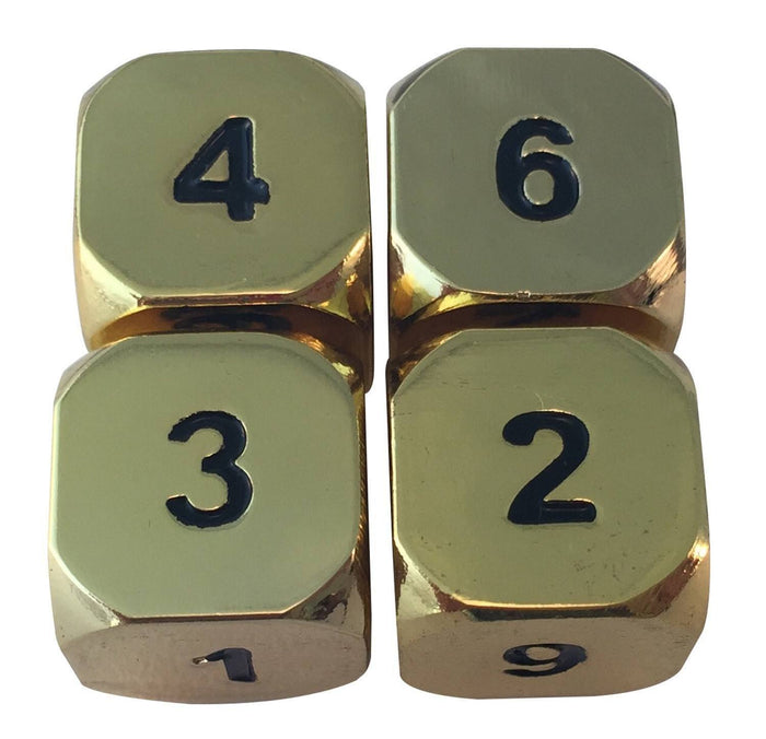 Metal Dice - 4 Pack Of D6 - Gold Metal Dice