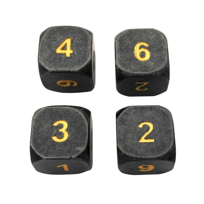 Metal Dice - 4 Pack Of D6 - Hunger Of The Ancients |  Industrial Gray Color With Gold Numbering  Metal Dice
