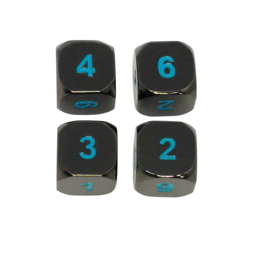 4 Pack of D6 - Icy Doom - Shiny Black Nickel with Blue Numbering Metal Dice