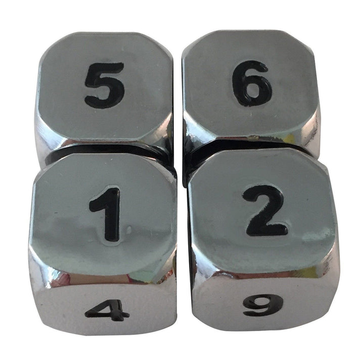 Metal Dice - 4 Pack Of D6 - Shiny Chrome / Silver Color With Black Numbering Metal Dice Set