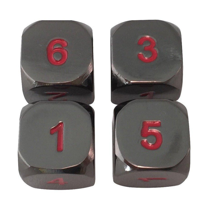 Metal Dice - 4 Pack Of D6 - Smoke And Fire | Shiny Black Nickel With Red Numbers  Metal Dice