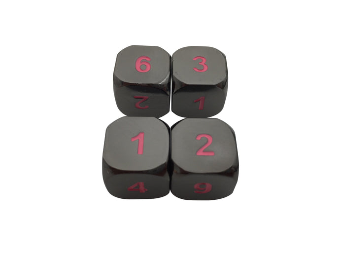 Metal Dice - 4 Pack Of D6 - Umbral Fae | Shiny Black Nickel Finish With Pink Numbering Metal Dice Set