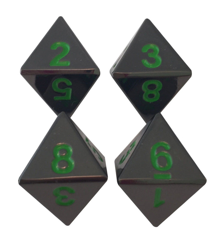 Metal Dice - 4 Pack Of D8 - Black Dragon | Shiny Black Nickel With Green Numbering Metal Dice