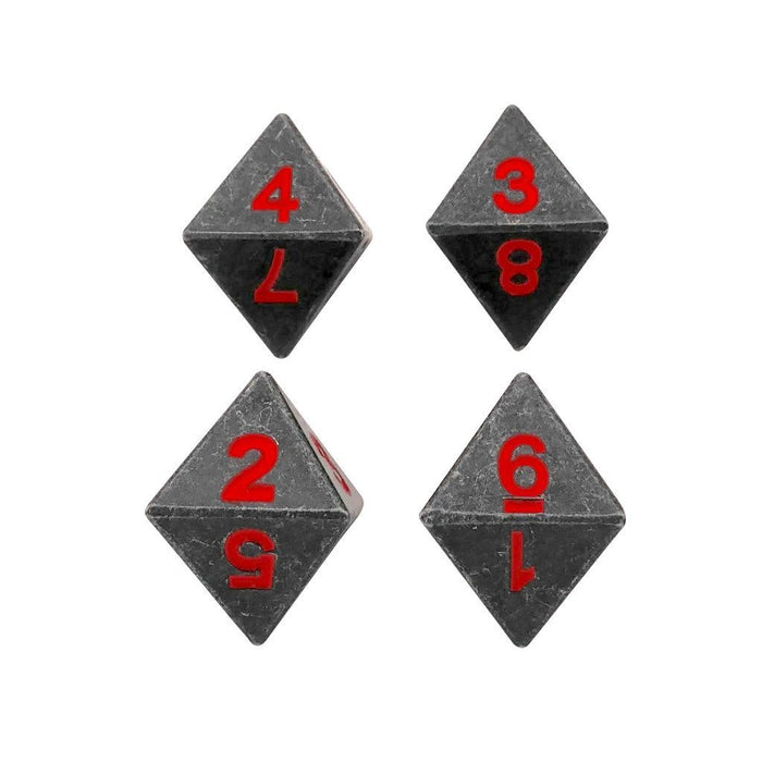 Metal Dice - 4 Pack Of D8 - Butcher's Bill | Industrial Gray With Red Numbers Metal Dice
