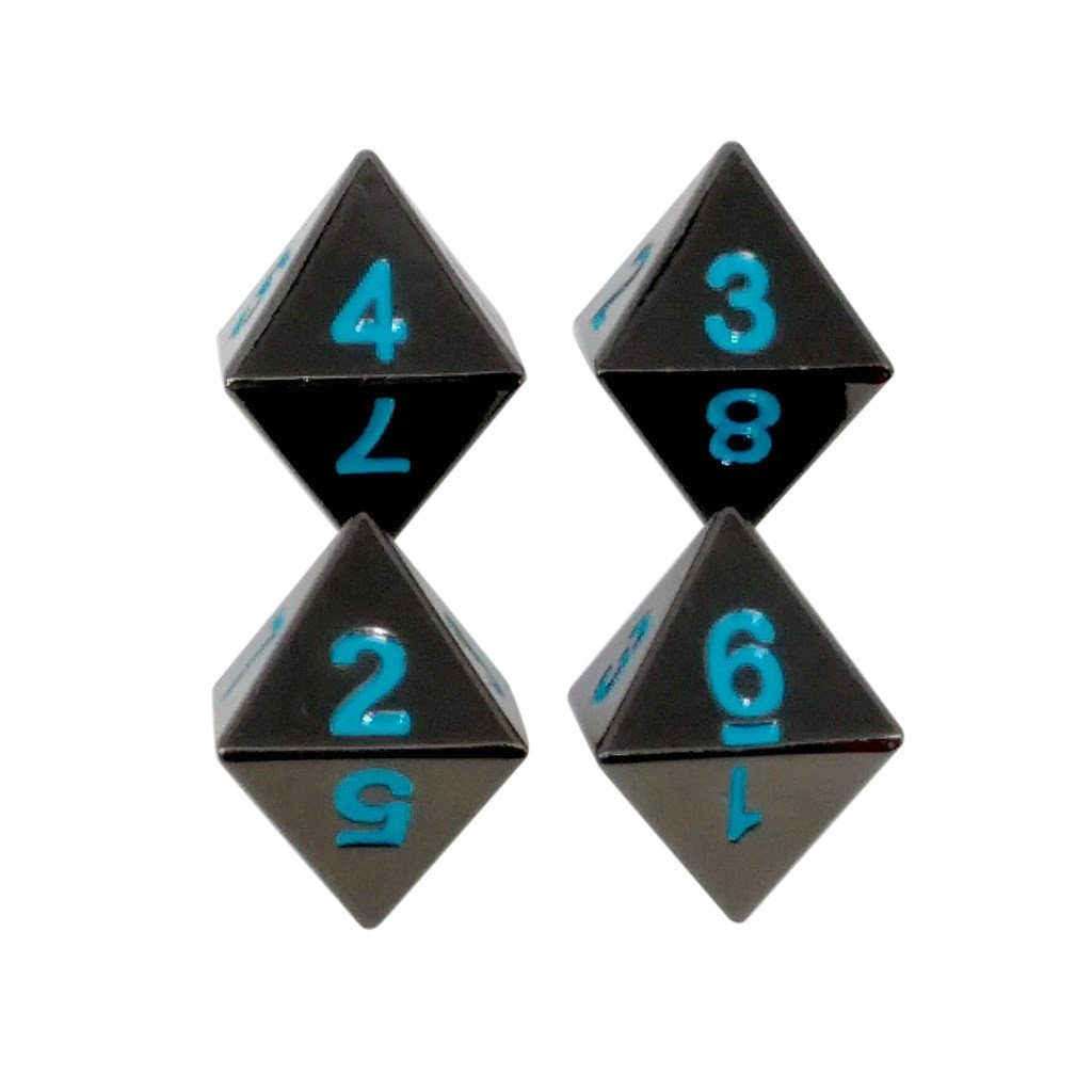 4 Pack of D8 - Icy Doom (Shiny Black Nickel with Blue Numbers) Metal Dice