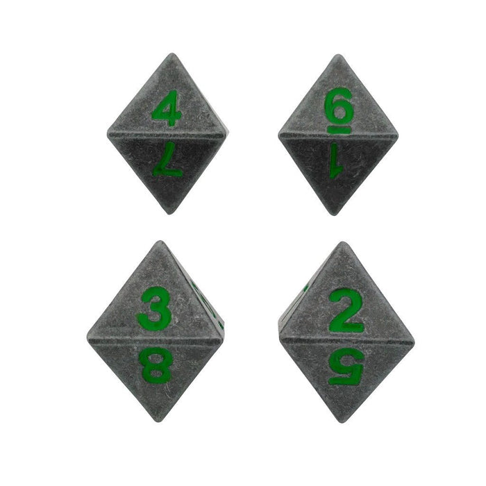 Metal Dice - 4 Pack Of D8 - Rackne's Curse | Industrial Gray With Green Numbers Metal Dice