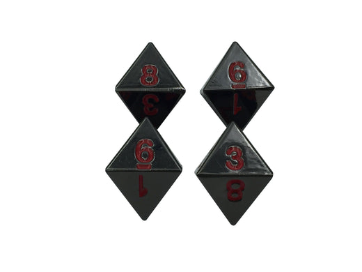 4 Pack of D8 - Smoke and Fire | Shiny Black Nickel with Red Numbers Metal Dice