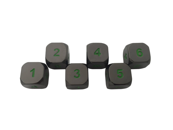 Metal Dice - 6 Pack Of D6 - Black Dragon | Shiny Black Nickel With Green Numbering Metal Dice