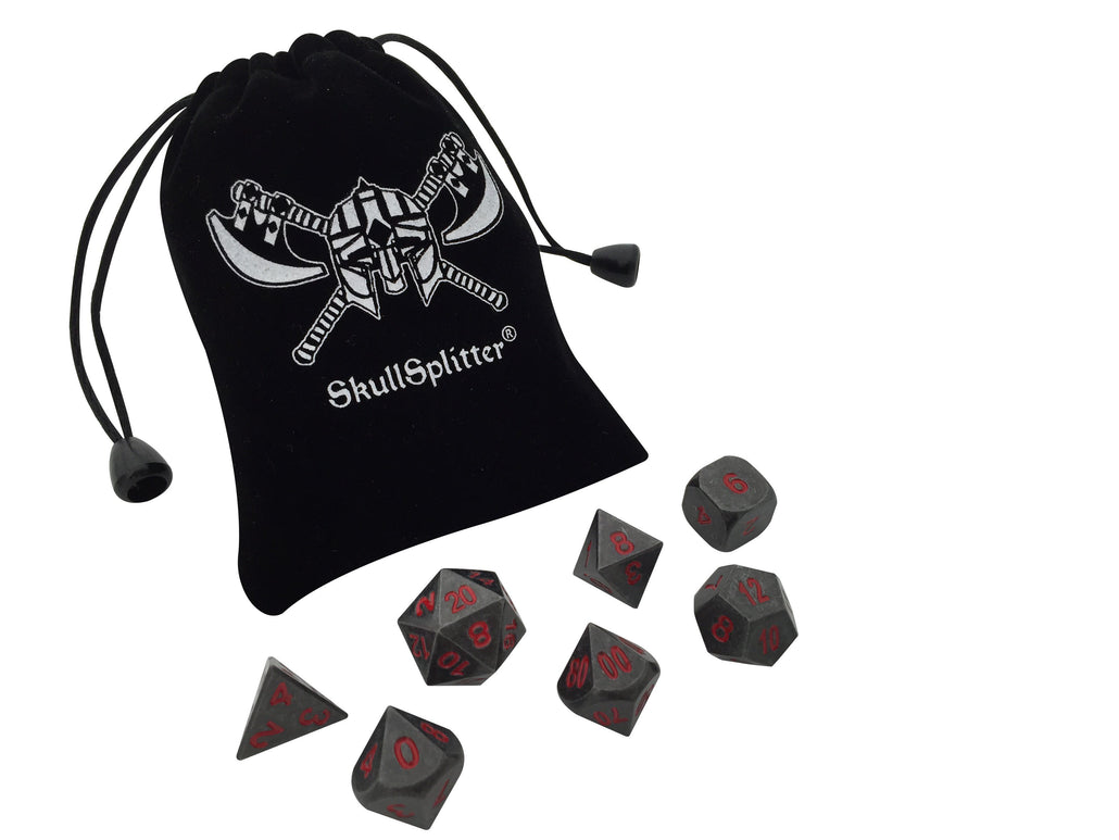 Butcher's Bill Metal Set | Industrial Gray with Red Numbering Metal Dice (7 Die in Pack)