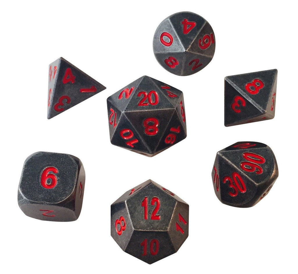 Metal Dice - Butcher's Bill Metal Set | Industrial Gray With Red Numbering Metal Dice (7 Die In Pack)