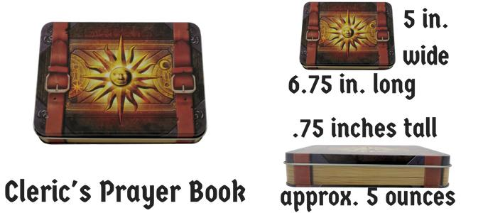 Metal Dice - Cleric's Prayer Book With Butcher's Bill | Industrial Gray With Red Numbering Metal Dice