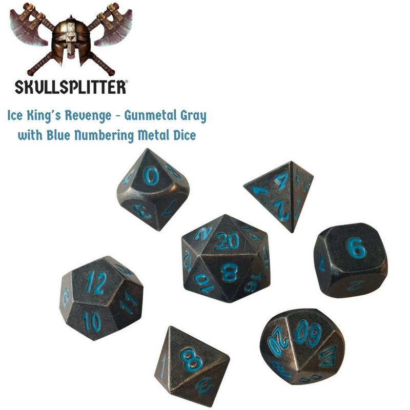 Metal Dice - Cleric's Prayer Book With Ice King's Revenge | Industrial Gray With Blue Numbers Metal Dice