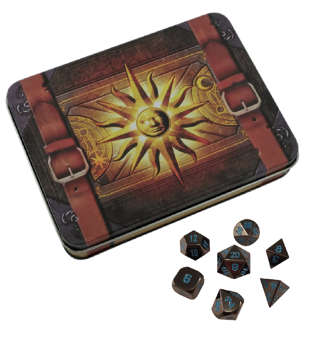 Cleric's Prayer Book with Icy Doom | Shiny Black Nickel with Blue Numbering Metal Dice