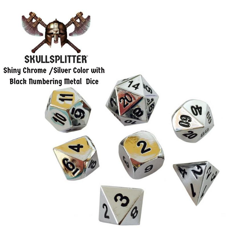Metal Dice - Cleric's Prayer Book With Shiny Chrome / Silver Color With Black Numbering Metal Dice Set