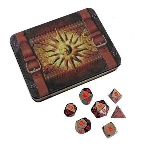 Cleric's Prayer Book with Smoke and Fire | Shiny Black Nickel with Red Numbers Metal Dice