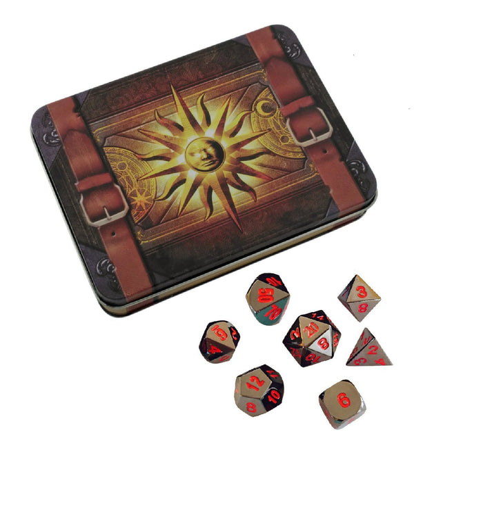 Metal Dice - Cleric's Prayer Book With Smoke And Fire | Shiny Black Nickel With Red Numbers Metal Dice