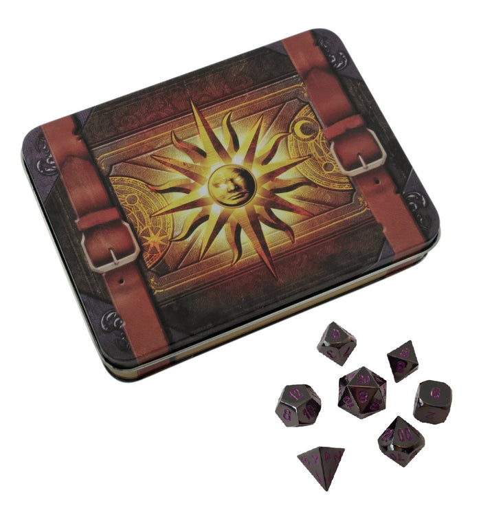 Metal Dice - Cleric's Prayer Book With Whispers Of The Void | Shiny Black Nickel With Purple Numbering  Metal Dice