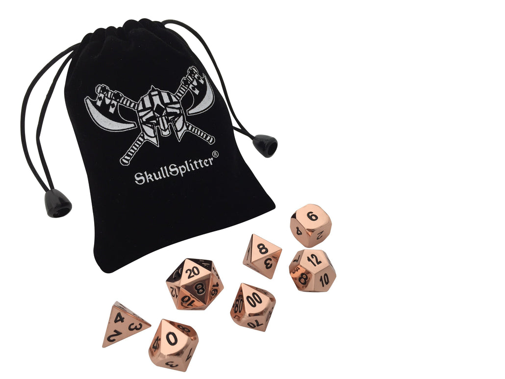 Copper Color with Black Numbering Metal Dice (7 Die in Pack)
