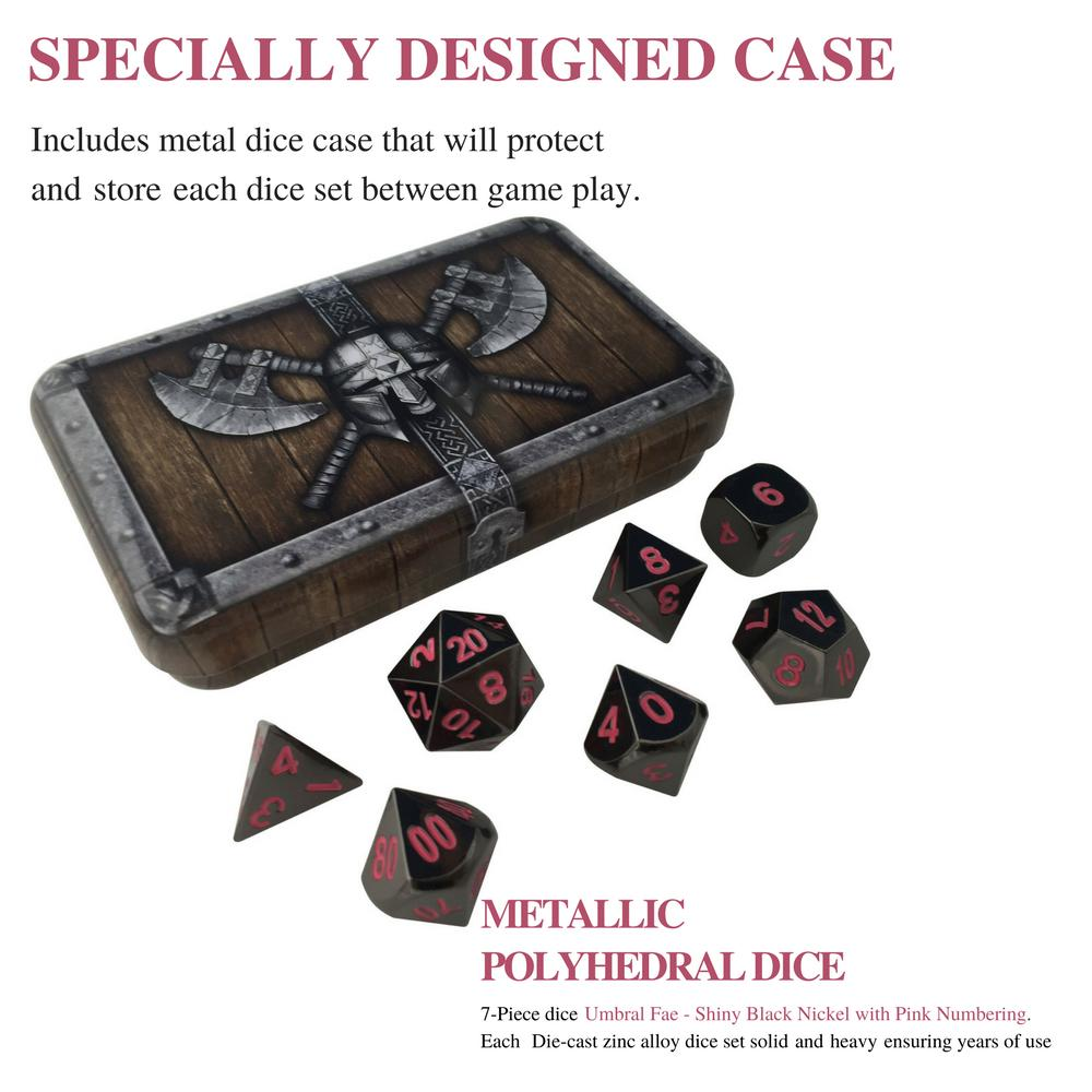 Metal Dice - Dwarven Chest With Umbral Fae | Shiny Black Nickel Finish With Pink Numbering Metal Dice Set