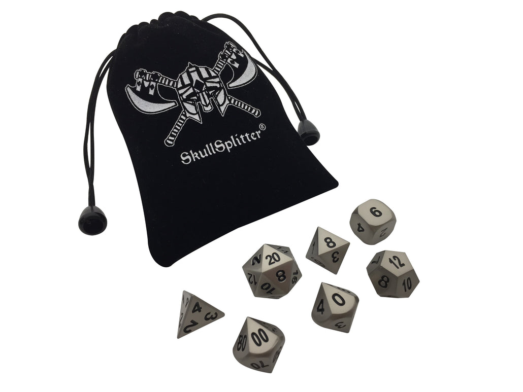 Executioner's Step | Dull Silver Color with Black Numbers Metal Dice (7 Die in Pack)