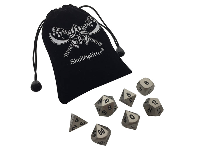 Metal Dice - Executioner's Step | Dull Silver Color With Black Numbers Metal Dice (7 Die In Pack)