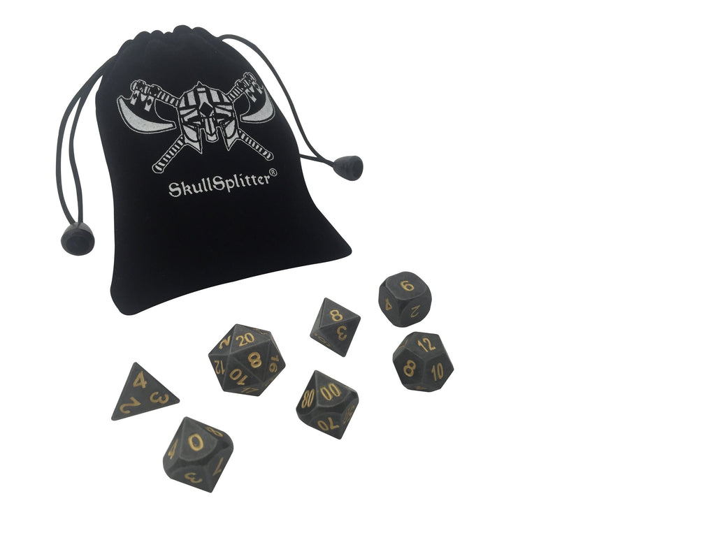 Hunger of the Ancients | Industrial Gray Color with Gold Numbering Metal Dice (7 Die in Pack)