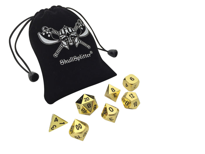 Metal Dice - Shiny Gold Color With Black Numbering Metal Dice (7 Die In Pack)