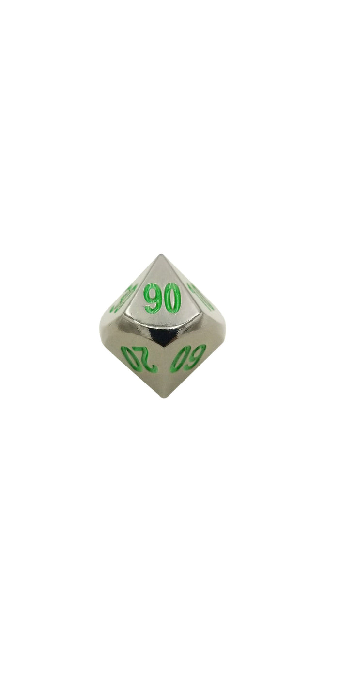 Metal Dice - Single D% - Black Dragon | Shiny Black Nickel With Green Numbering Metal Dice