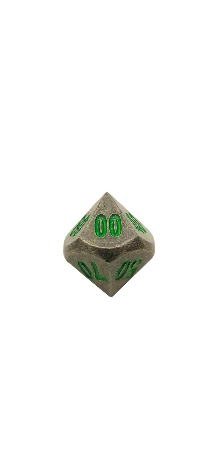 Metal Dice - Single D% - Rackne's Curse | Industrial Gray With Green Numbers Metal Dice