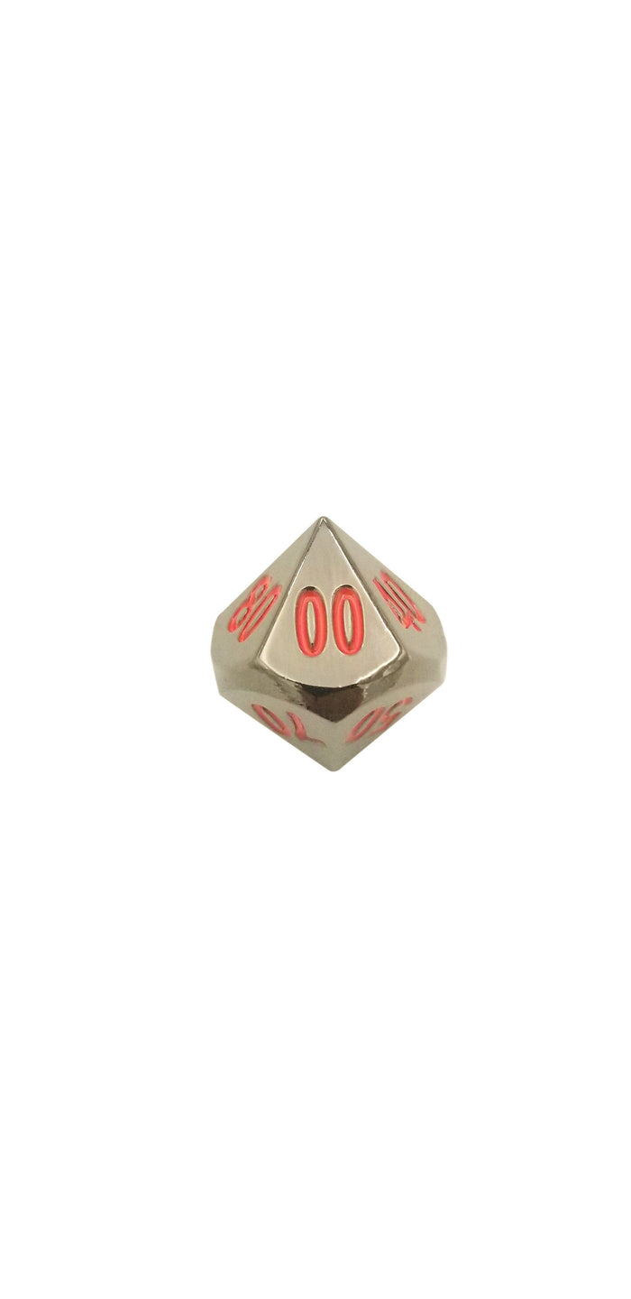 Metal Dice - Single D% - Smoke And Fire | Shiny Black Nickel With Red Numbers Metal Dice