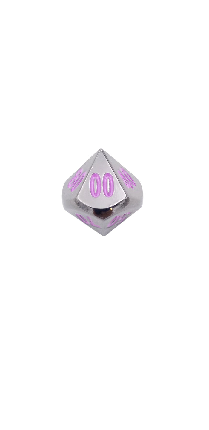 Metal Dice - Single D% - Whispers Of The Void | Shiny Black Nickel With Purple Numbers Metal Dice
