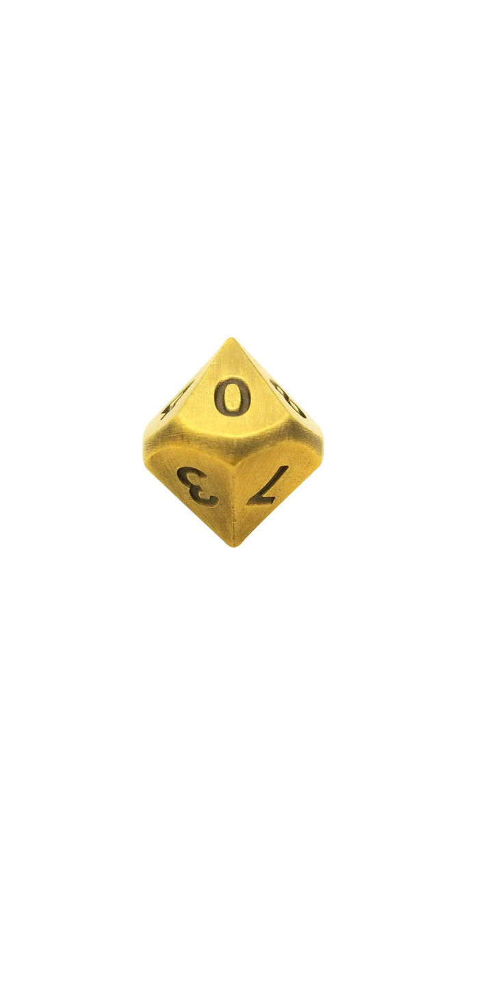 Metal Dice - Single D10 - Antique Gold Color With Black Numbering Metal  Dice